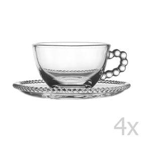 Zestaw 4 filiżanek ze spodkiem Pearls Tea