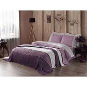 Pościel z prześcieradłem i narzutą Purple and White, 160x220 cm