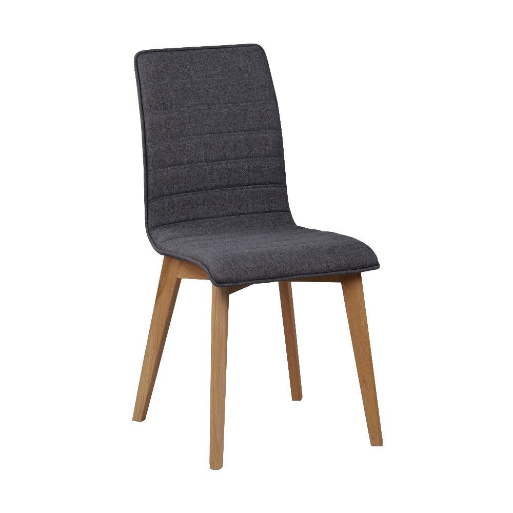 Ciemnoszare krzesło do jadalni z brązowymi nogami Rowico Grace