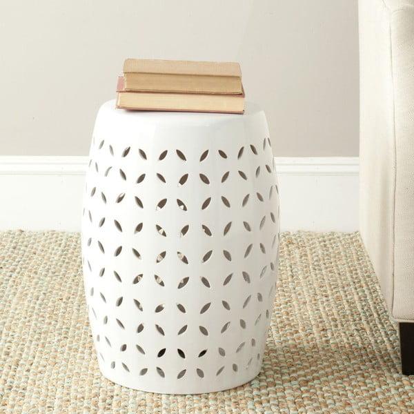 Biały stolik ceramiczny Safavieh Lattice Petal