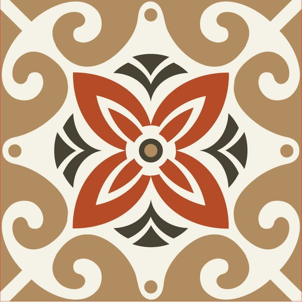 Nklejki Tile Art Beige Ornament, 4 szt.