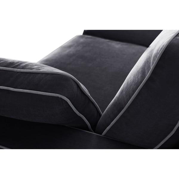 Trzyczęściowy komplet wypoczynkowy Jalouse Maison Serena, czarny