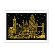 Plakat London Black&Yellow, 50x70 cm