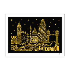 Plakat London Black&Yellow, 50x70 cm