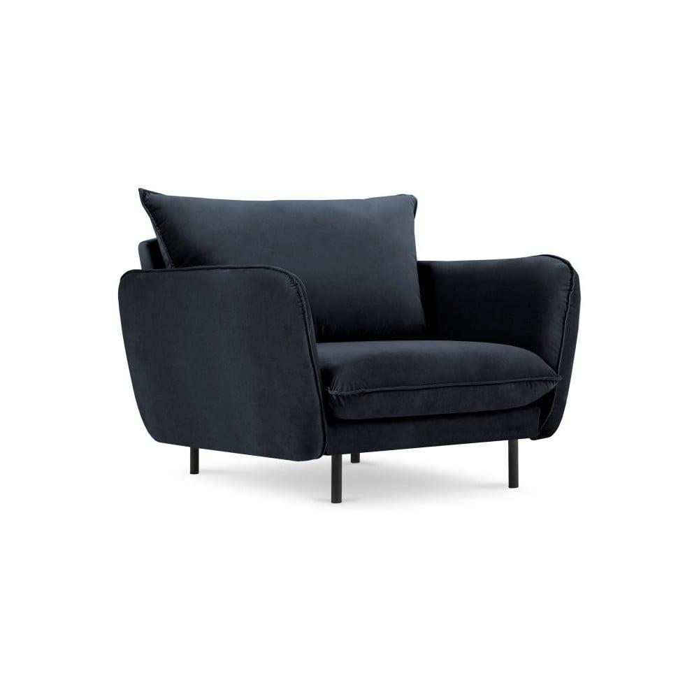 Ciemnoniebieski aksamitny fotel Cosmopolitan Design Vienna