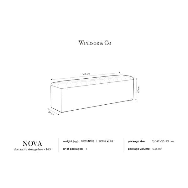 Kremowa ławka tapicerowana ze schowkiem Windsor & Co Sofas Nova, 140x47 cm