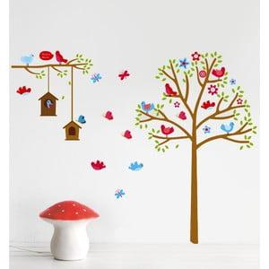 Naklejka ścienna Drzewo i ptaszki, 60x90 cm