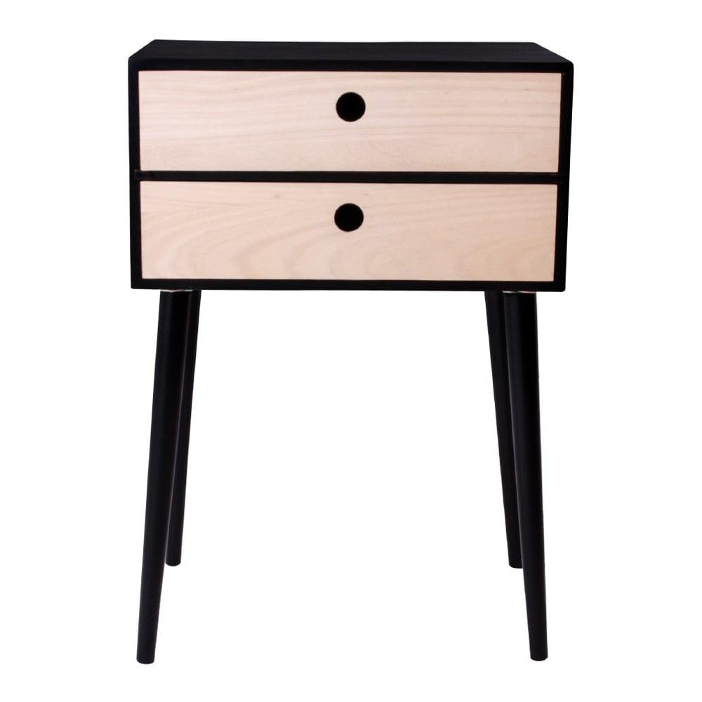 Czarna szafka nocna z drewna paulowni z czarnymi detalami House Nordic Rimini