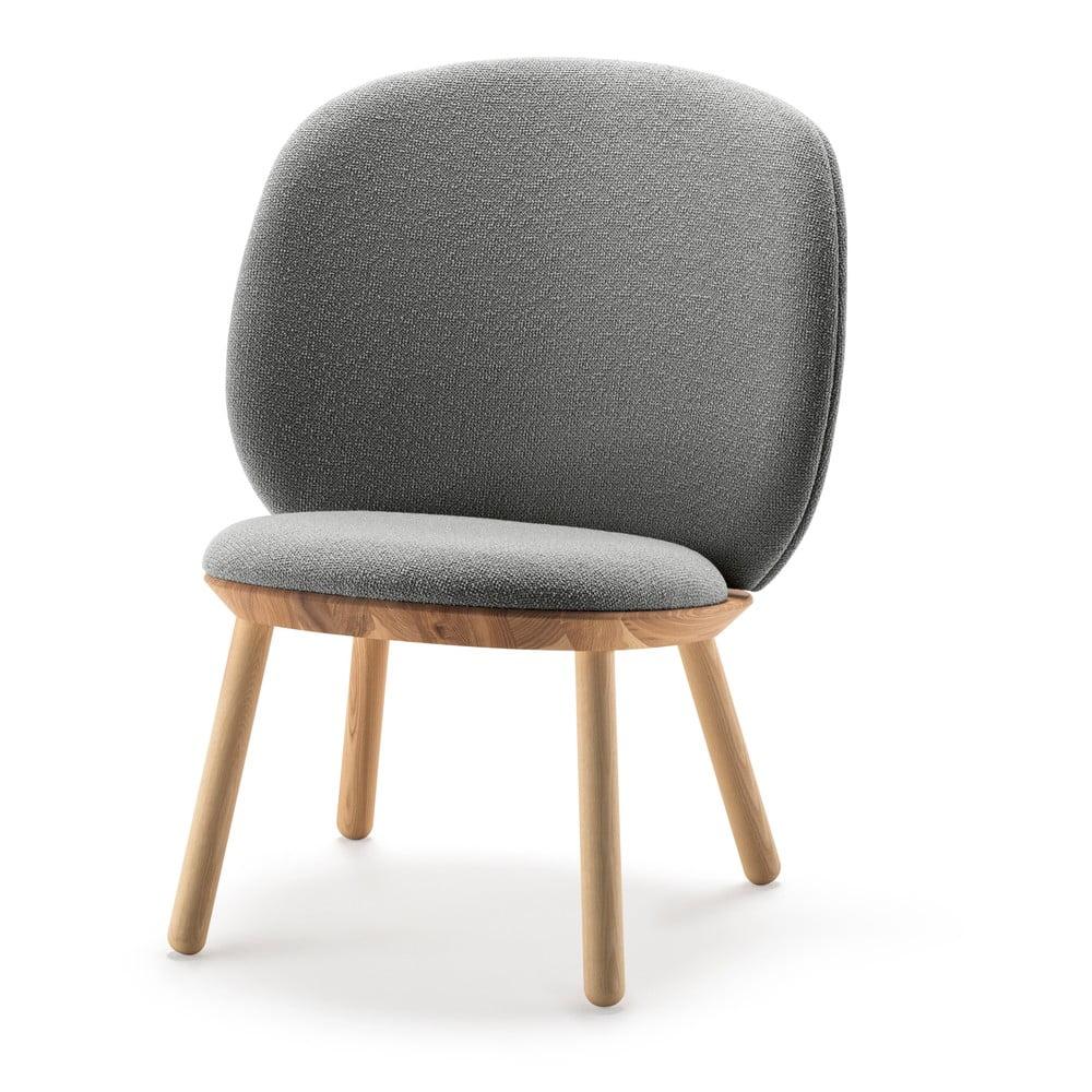 Szary wełniany fotel EMKO Naïve