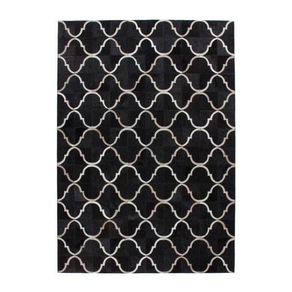 Czarny skórzany dywan Eclipse, 80x150cm