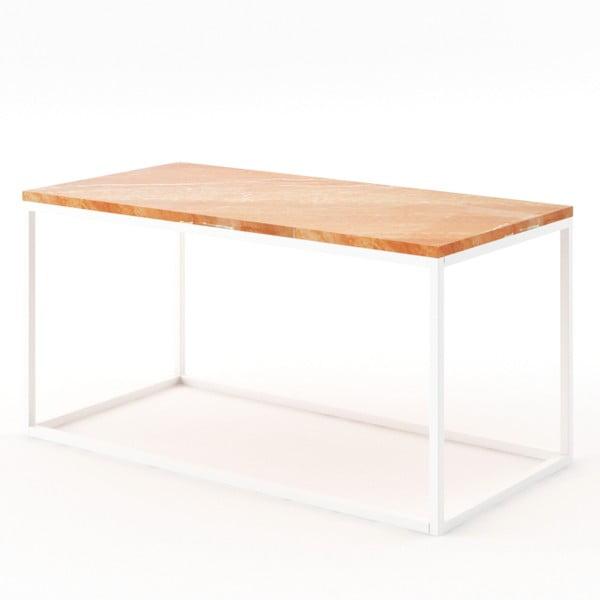 Beżowy stolik z marmuru z białą konstrukcją Absynth Noi Spain, duży