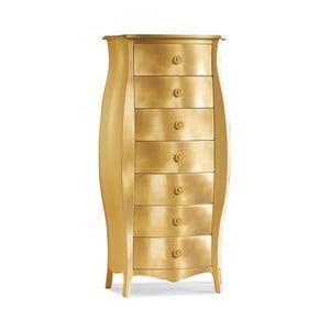 Złota szafka drewniana z 7 szufladami Castagnetti