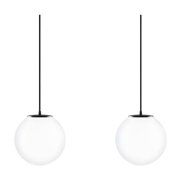 Szklana podwójna lampa wisząca z czarną oprawką Sotto Luce TSUKI