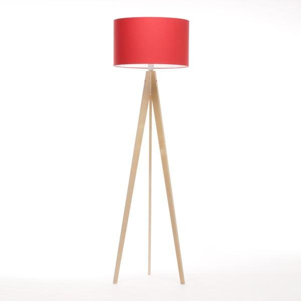 Czerwona lampa stojąca Artist, brzoza, 150 cm