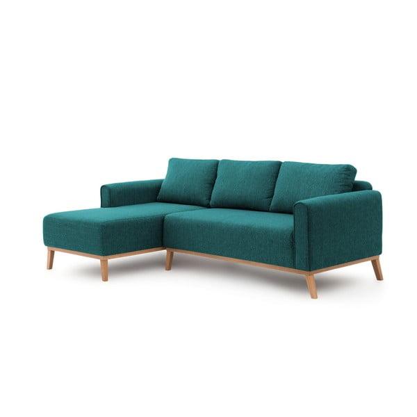 Turkusowa lewostronna sofa narożna Vivonita Milton