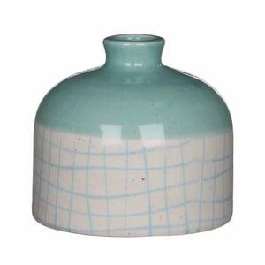 Niebiesko-biały wazon ceramiczny Mica Fabio, 9x10cm