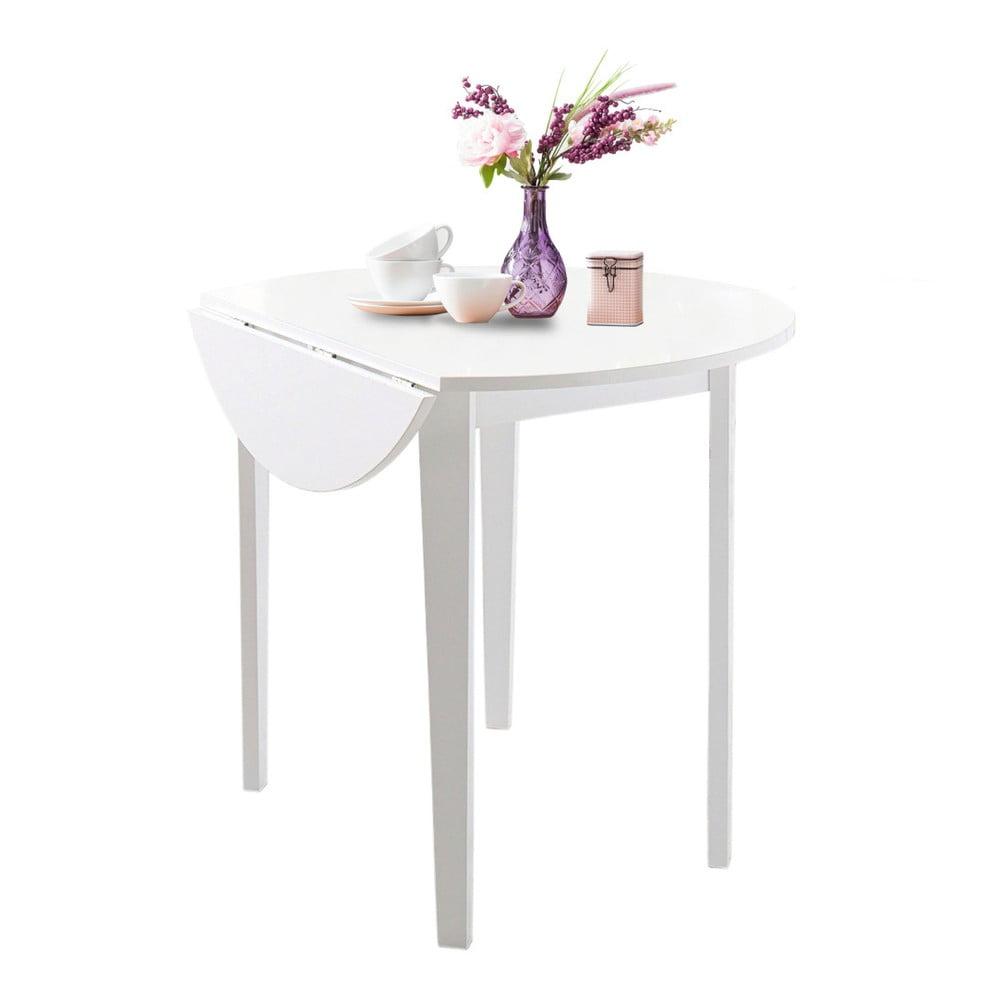 Biały stół z częściwo rozkładanym blatem Støraa Trento Quer, ⌀92cm