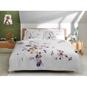 Pościel z prześcieradłem Purple, Brown and White, 200x220 cm
