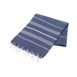 Granatowy ręcznik Hammam Sarayli, 100x180cm