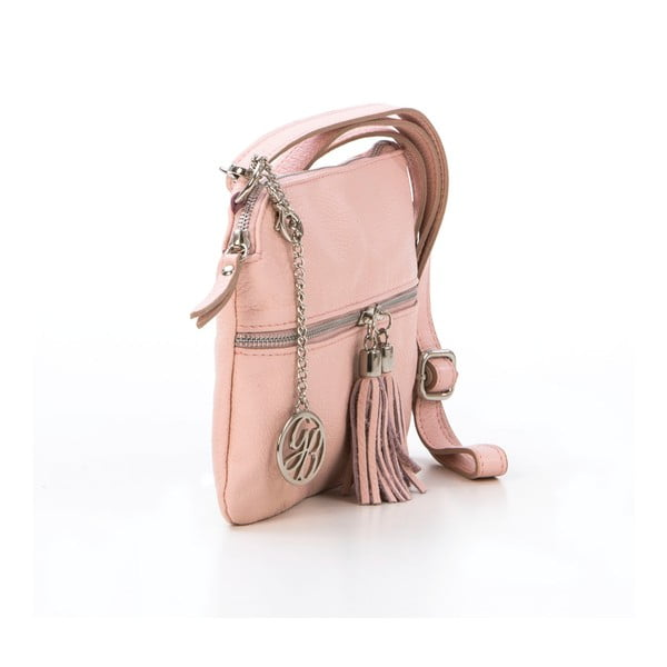 Skórzana torebka Alberto, pudrowa