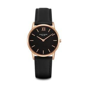Czarny zegarek damski ze skórzanym paskiem i cyferblatem w kolorze różowego złota Eastside Upper Union