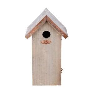 Budka dla ptaków z drewna sosnowego z miedzianym daszkiem Esschert Design Antik, wys.30cm