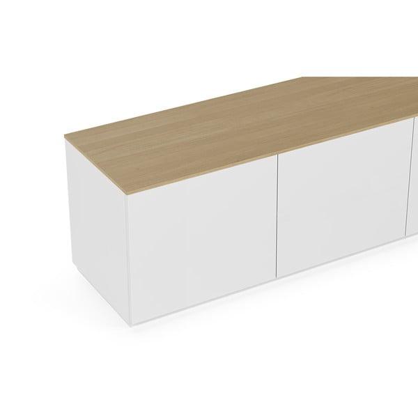 Biała matowa szafka pod TV z blatem z dekorem drewna dębowego TemaHome Join, 180x57 cm