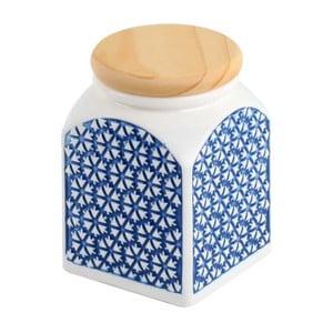 Ceramiczny pojemnik Niebieskie słońce, 8x8x11 cm