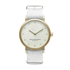 Zegarek unisex z białym paskiem South Lane Stockholm Sodermalm Gold Big