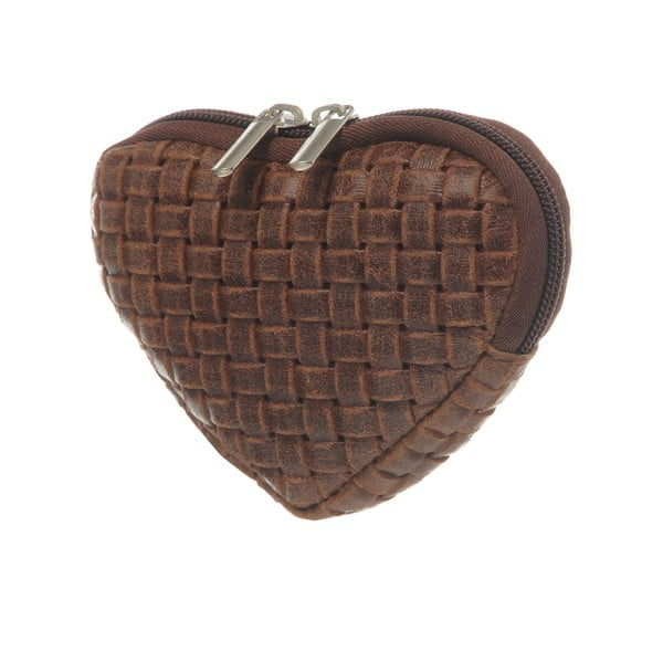 Zamszowa portmonetka Heart Dark Brown