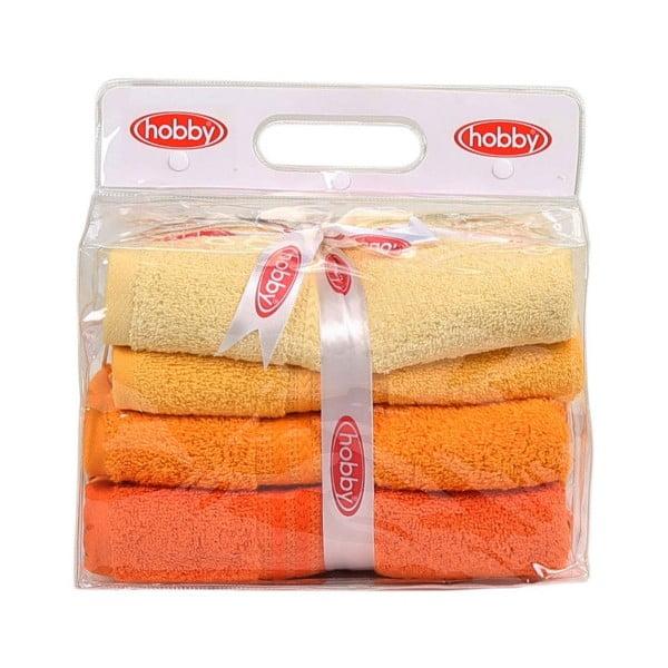 Zestaw 4 ręczników Rainbow Daisy, 50x90cm