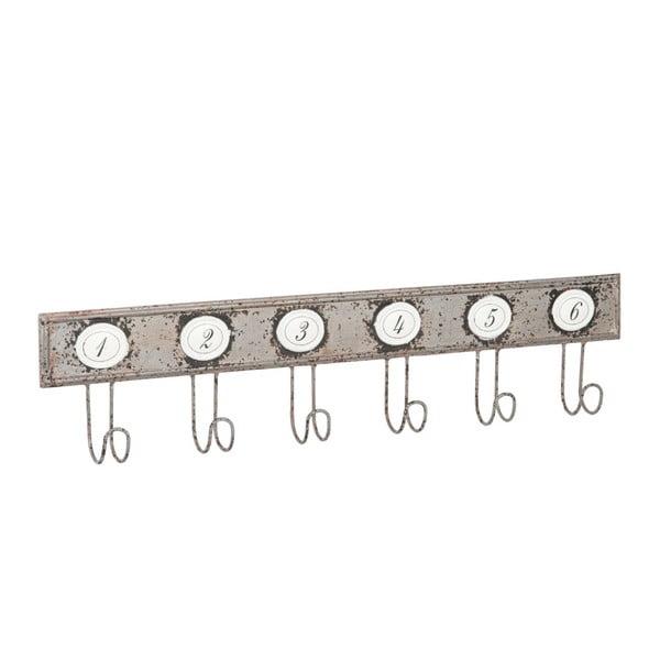 Metalowy wieszak z haczykami, 80 cm, szary