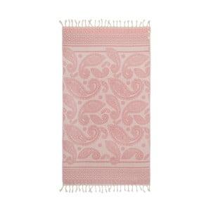 Różowy ręcznik hammam Begonville Paisley, 180x95cm