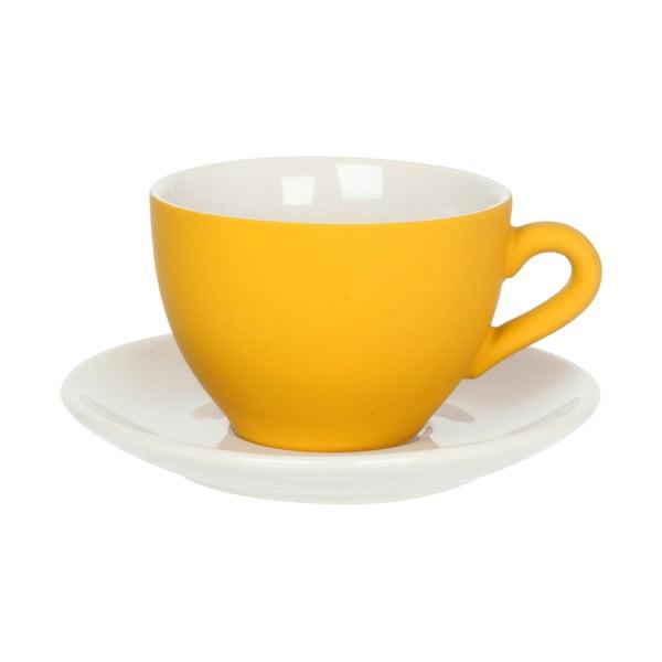 Żółta filiżanka ze spodkiem Present Time Silk Yellow