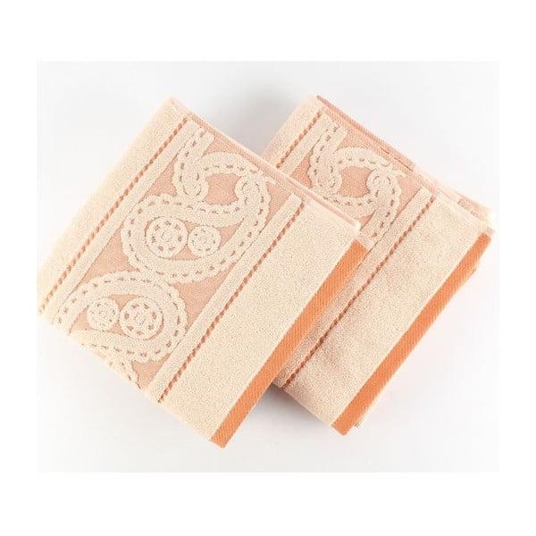 Zestaw 2 ręczników Hurrem Salmon, 50x90 cm