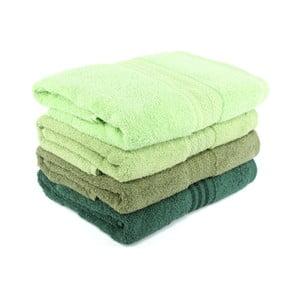 Zestaw 4 zielonych ręczników Rainbow, 70x140 cm