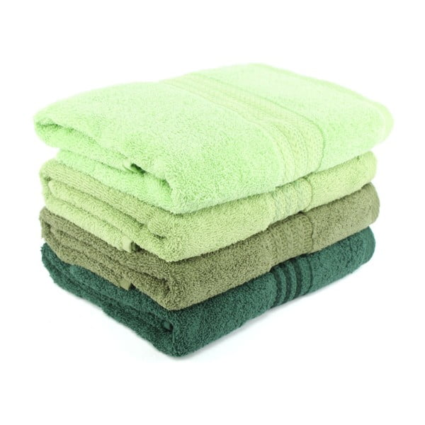 Zestaw 4 zielonych ręczników kąpielowych Rainbow Garden, 70x140 cm