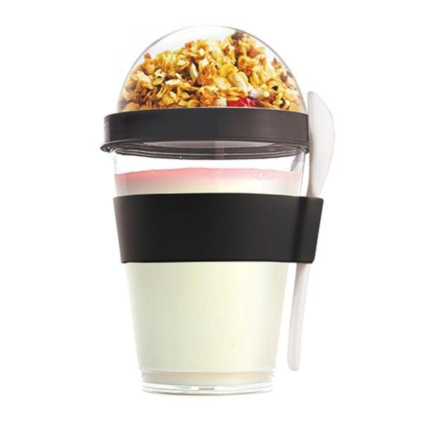 Czarny pojemnik śniadaniowy Asobu Yo2GO, 360 ml