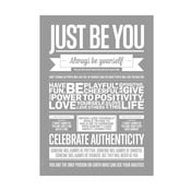 Plakat autorski Just Be You Grey, 50x70 cm