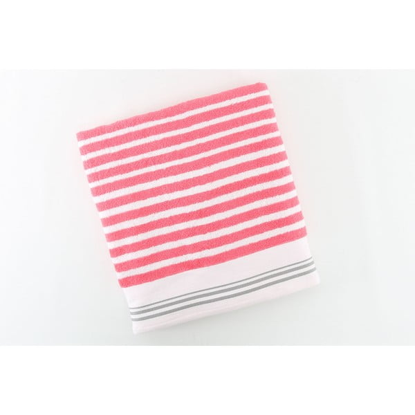 Ręcznik bawełniany BHPC 50x100 cm, różowo-biały