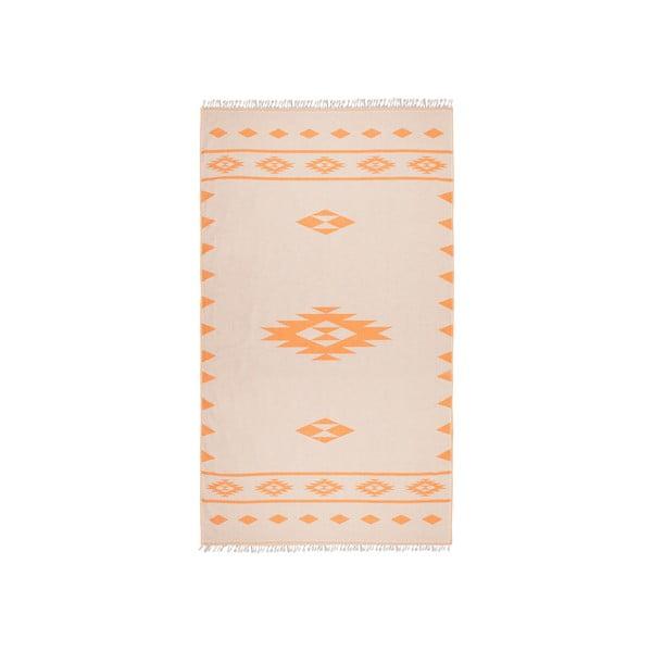 Pomarańczowy ręcznik dwustronny hammam Alpha