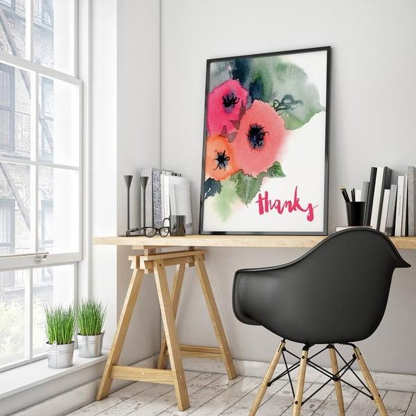 Plakat z kwiatami Thanks, 30 x 40 cm