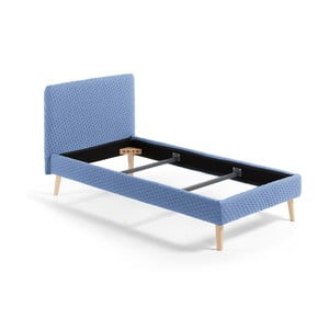 Niebieskie tapicerowane łóżko 1-osobowe La Forma Lydia Dotted, 190x90cm