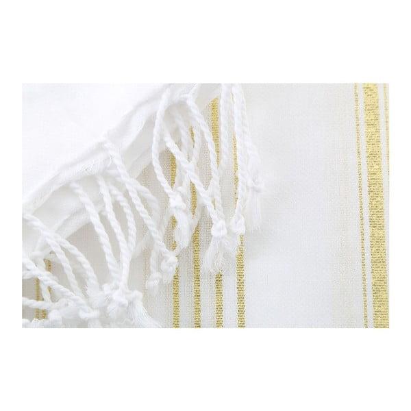 Biało-złoty ręcznik Hammam Sultan, 100x180 cm