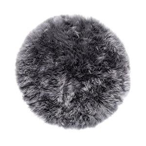 Szary dywan okrągły z owczej skóry Royal Dream Zealand,⌀70cm