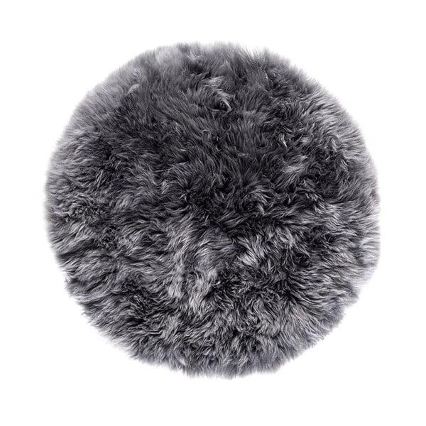 Szary dywan okrągły z owczej skóry Royal Dream Zealand