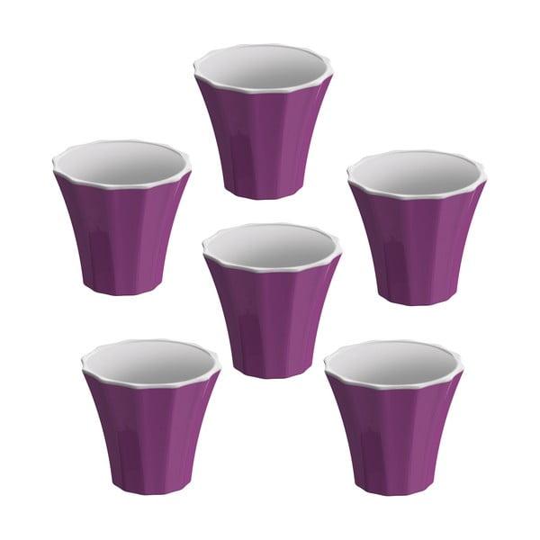 Komplet 6 filiżanek Colour, fioletowy