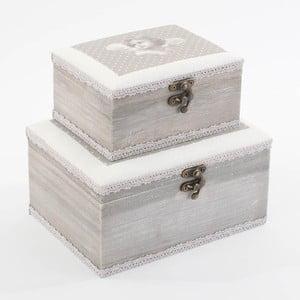 Zestaw pudełek Grey Dots, 2 sztuki