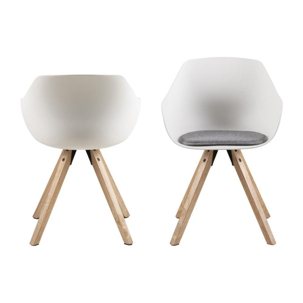Komplet 2 białych krzeseł z nogami z drewna kauczukowego Actona Tina