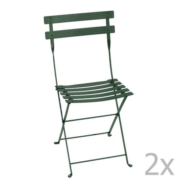 Zestaw 2 zielonych krzeseł składanych Fermob Bistro
